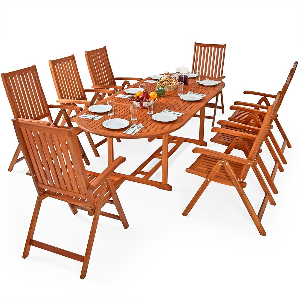 Deuba wooden garden furniture set fsc certified eucalyptus wood 8 seater dining table and chairs set moreno amazon co uk garden outdoors