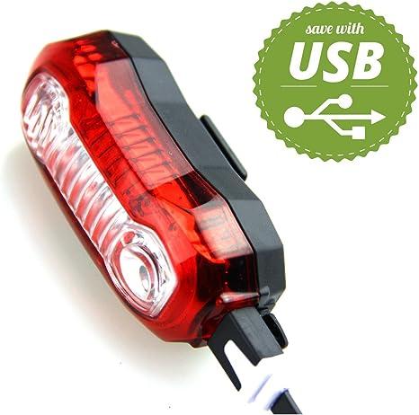 Luz Trasera Bicicleta Con USB Recargable Ultra Brillante Para Bici ...