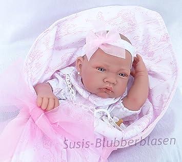 Antonio Juan AJ5026 – Muñeca recién Nacida con Manta y Lazo, Muy Realista, Color Rosa
