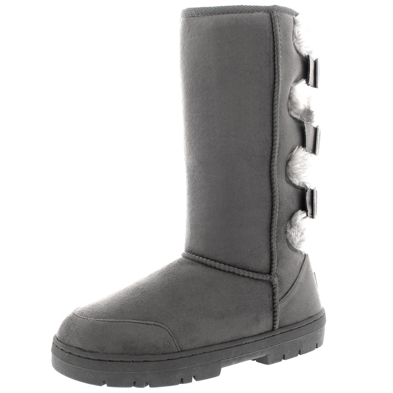 Womens Waterproof Long Winter Shoe Buckle Mid Calf Snow Boots B01FKMHOZQ 7 B(M) US|Gray/Gray Fur
