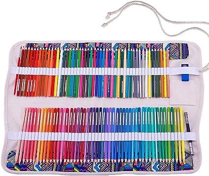 abaría - Juego de 2 bolsa organizador para 120 lápices colores, cuchillo, borrador - Estuche plegable y bolsas de cuerdas pequeña - Portalápices de lona per infantil adulto (No Incluyendo los Lápices):
