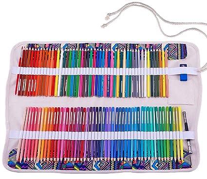 abaría - Juego de 2 bolsa organizador para 120 lápices colores, cuchillo, borrador - Estuche plegable y bolsas de cuerdas pequeña - Portalápices de ...