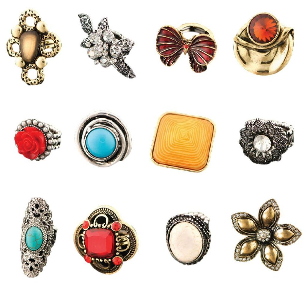 Isabella's Journey Women's Fashion Trend Assorted Bold Stretch Statement Rings, IJRS12 Set of 12