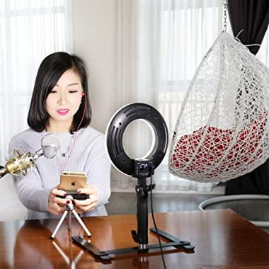 SH Selfie Ring Light for Phone Video Shooting Makeup Portrait Photography with Stand Mirror Table Top Dimmable LED Photo 8-inch 5500K Video Lights Lamps+Mirror+Stand+Phone Clamp+Mini Tripod