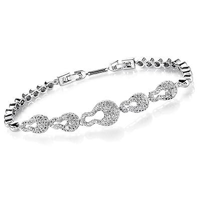 Comtex Ladies Bracelet Cubic Zirconia Crystals Tennis Bracelet for Women Fashion Bracelet Elegance Diamond Sparkle pD4eRESeX