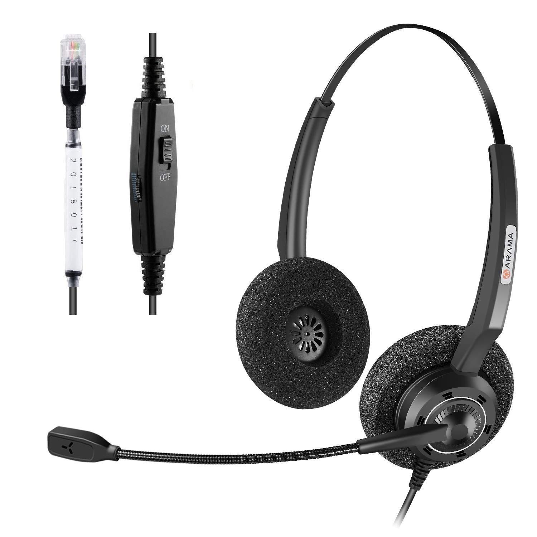 Arama Corded Office Telephone Headset with Noise Canceling Mic Headset for Polycom VVX310 VVX311 VVX410 VVX411 Avaya 1408 1416 5410 Mitel 5220e 5330e 5330 ShoreTel NEC Landline Deskphones (A200D) by AAA ARAMA