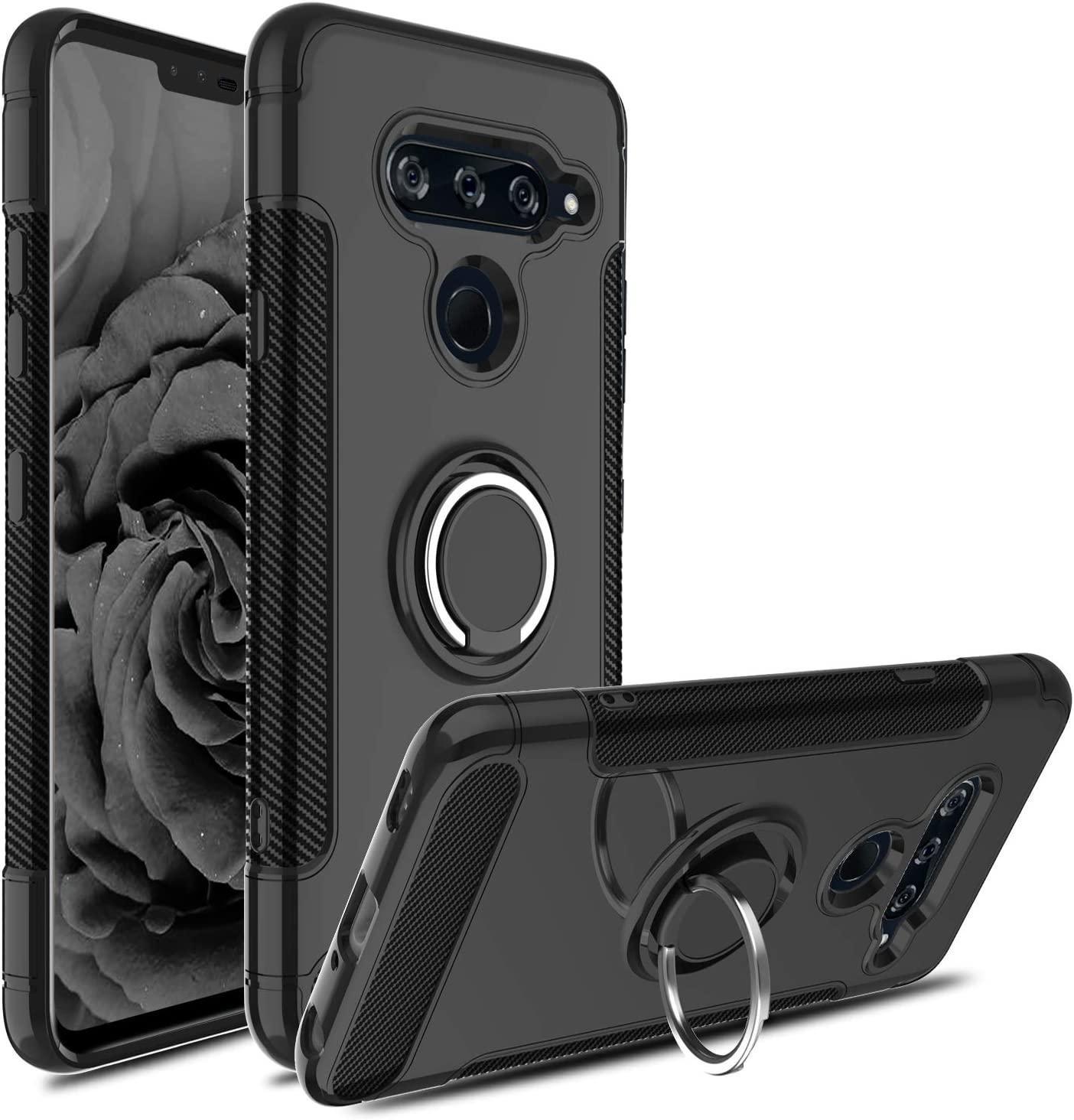 LG V40 Case, LG V40 Thinq Case, Hybrid Dual Layer 360 Degree Rotating Ring Holder Kickstand Case with Magnetic Car Mount Cover-Black