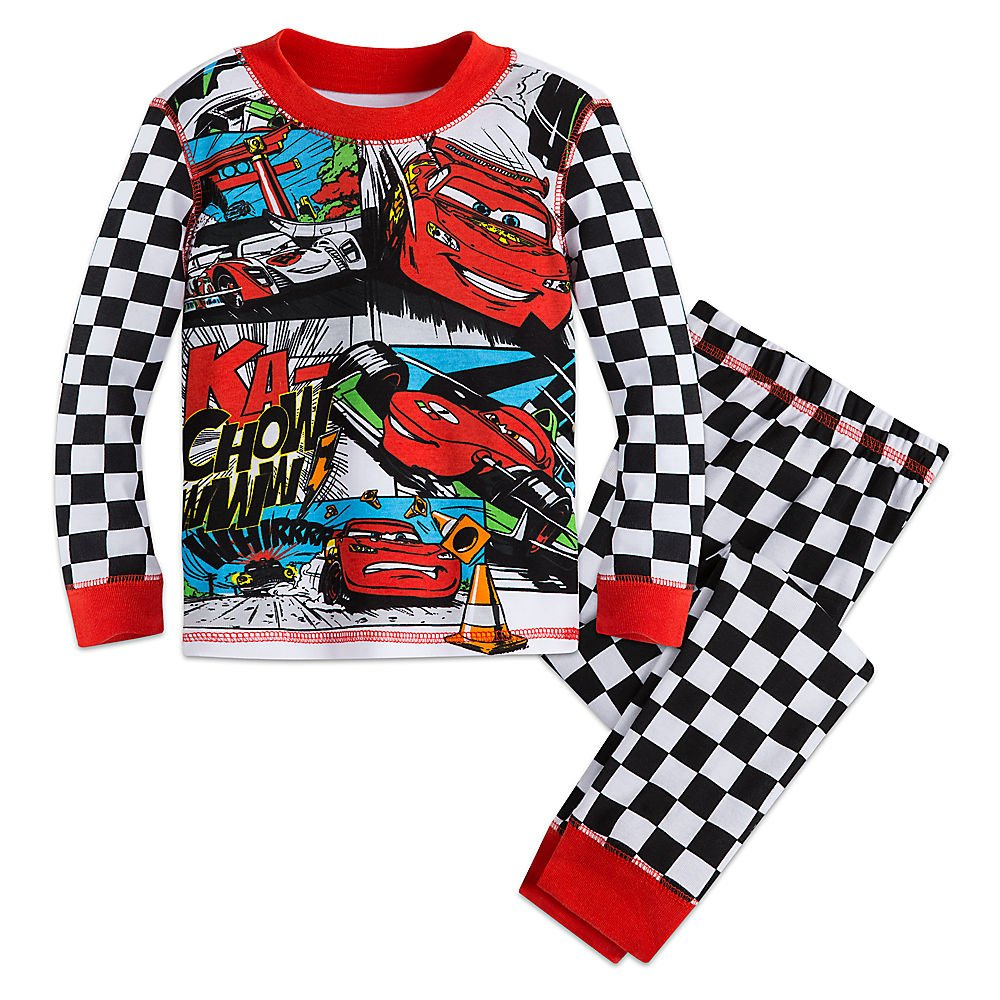 Disney Store Cars Lightning McQueen Long Sleeve PJ Pals Pajama Set for Boys Size 6