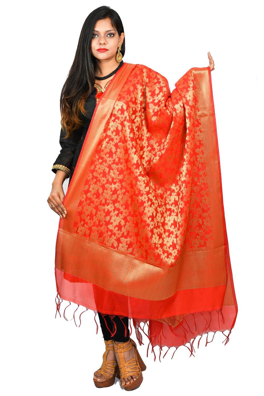 Women's Banarasi Floral Pattern Dupatta Brocade Fashion Accessory Red Scarf Chunni Hijab For Girls Women
