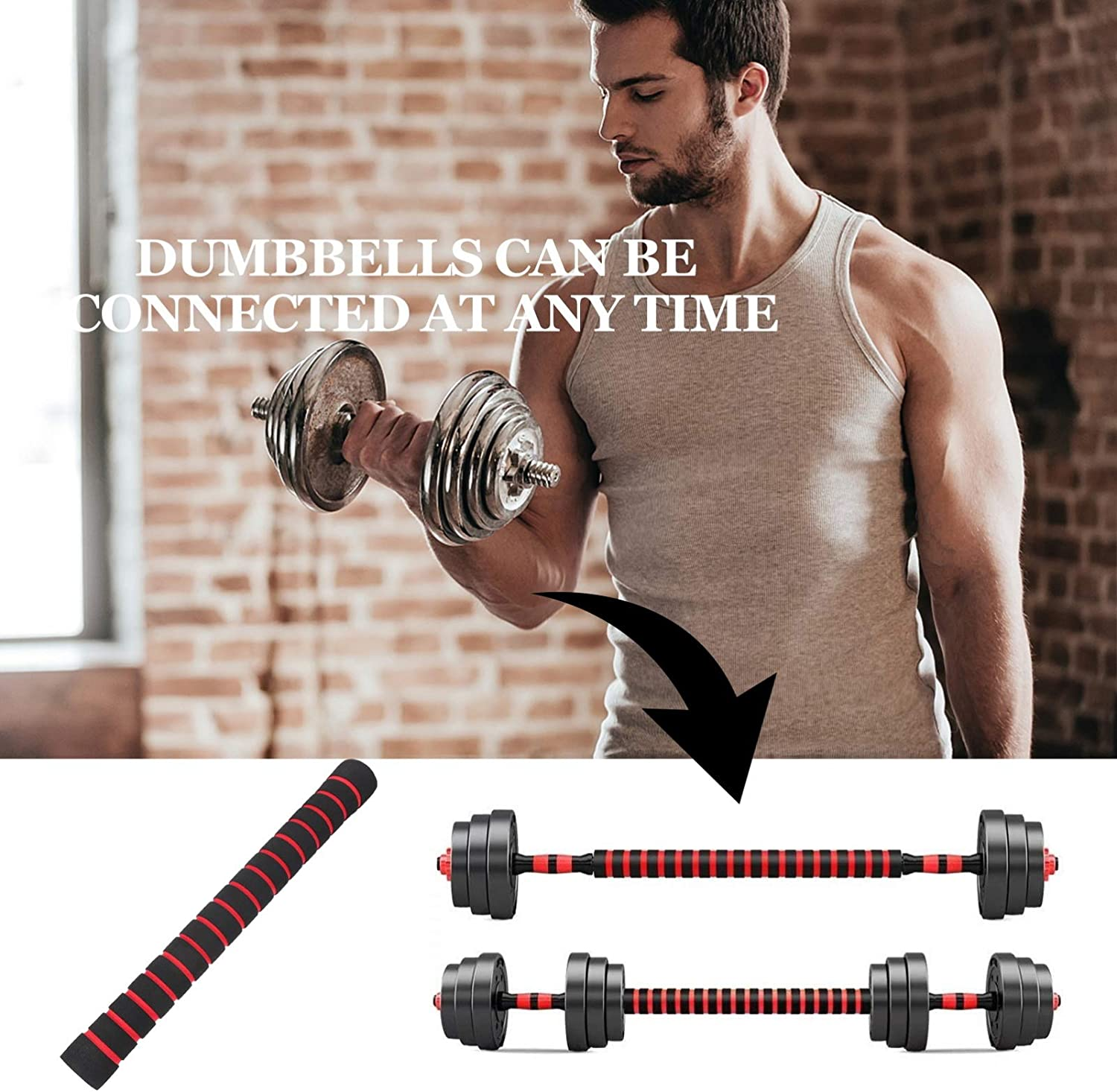 BESPORTBLE Dumbbell Connecting Rod Barbell Connector Bar Weightlifting Equipment Weight Connector Bar Weightlifting Equipment Accessories Dumbbell Bar Connector for Home Fitness Training
