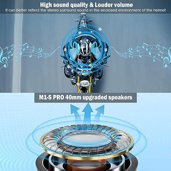 Motorbike Bluetooth Headset Communication System Up to 8 Riders Noice Cancellation,Waterproof,Black Fodsports M1S Pro Motorcycle Intercom with Stereo Sound Amazing 900mAh Battery Life 2 Pack