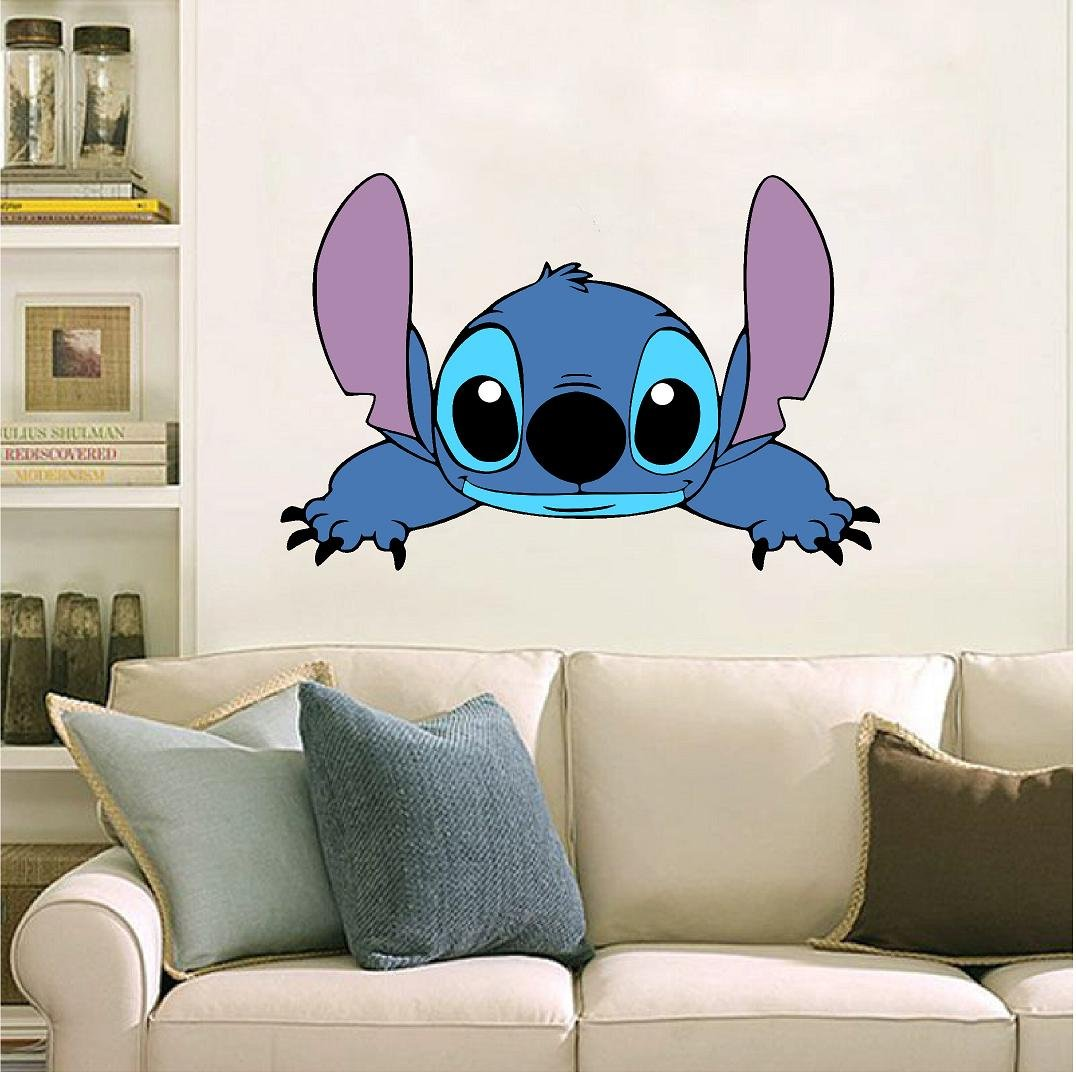 Stitch, reaching, peeking,Lilo, laptop, car 3D Wall Decal Sticker 7