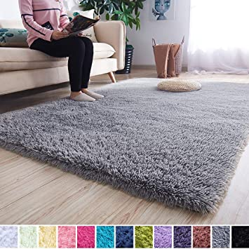 Amazon Com Noahas Super Soft Modern Shag Area Rugs Fluffy Living Room Carpet Comfy Bedroom Home Decorate Floor Kids Playing Mat 4 Feet By 5 3 Feet Grey Furniture Decor