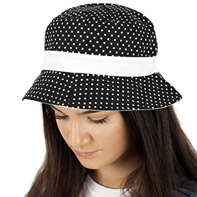 60d575c09f6 TOSKATOK UPF 50+ Ladies Womens Reversible Cotton Polka Dot Bush Bucket Sun  Hat Black