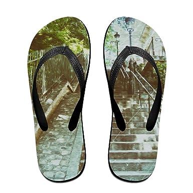 Unisex V Flip Flops Les Escaliers De Montmartre Landscape Personalized Summer Slipper
