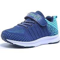 Zapatillas De Correr para Niño y Niña Zapatos De Deporte Chico Velcro Exterior Interior Ligeras Transpirable Trainers…