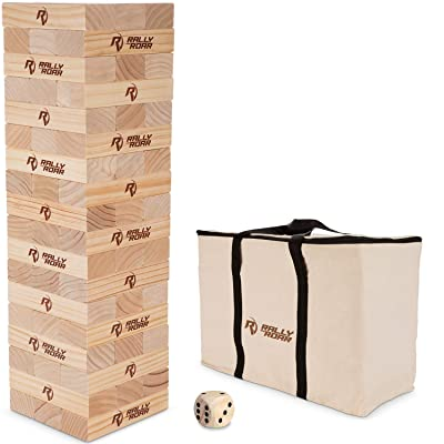 Rally and Roar Toppling Tower Giant Tumbling Timbers Game 2.5 feet Tall (Build to Over 5 feet)– Classic Wood Version - for Adults, Family – Stacking Blocks Set w/Canvas Bag : Sports & Outdoors