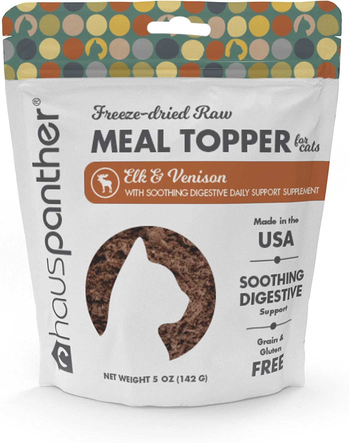 Hauspanther Freeze-Dried Raw Elk & Venison Cat Food Topper with Soothing Digestive Daily Support Supplement 5 oz