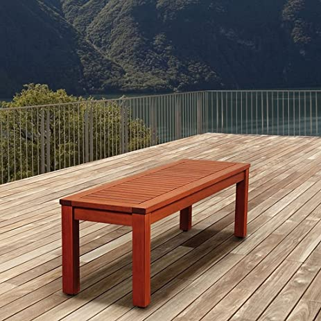 Superior Eucalyptus Backless Patio Bench, This Wood Patio Bench Is Water Resistant  And Offers Uv