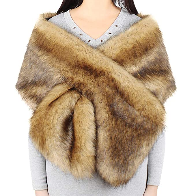 Estola de Invierno para Novia, Chal para Mujer de Piel Sintetica Boda Abrigo de Cuello Bufandas: Amazon.es: Ropa y accesorios