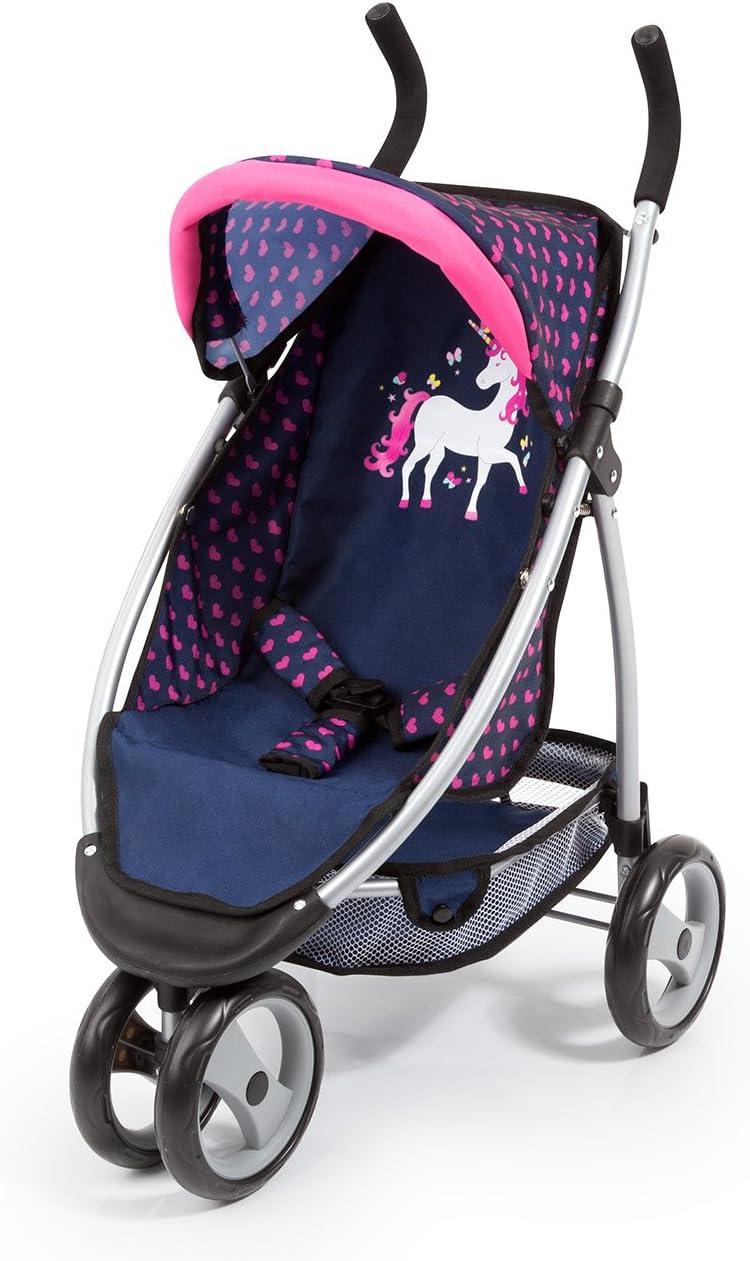 Bayer Design- Cochecito de Muñeca con Cinturón de Seguridad, Color: Azul/Rosa (39954AA)