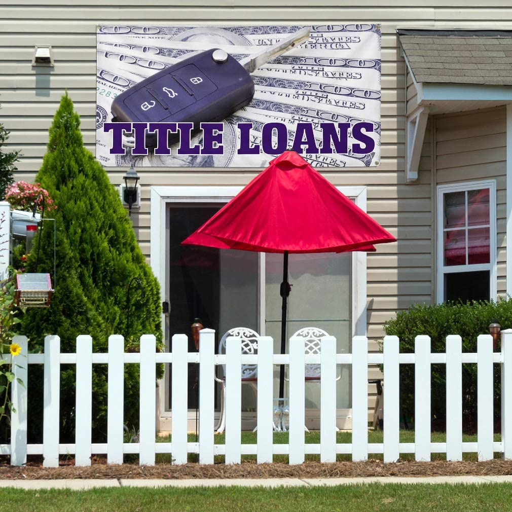 Vinyl Banner Multiple Sizes Title Loans Outdoor Advertising Printing C Business Outdoor Weatherproof Industrial Yard Signs White 10 Grommets 60x144Inches
