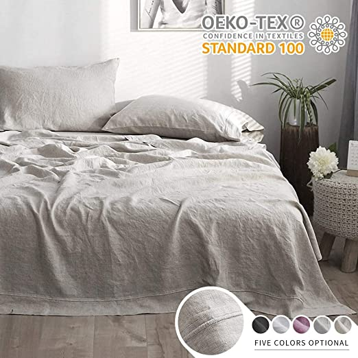 "Flat Fitted Sheet 14/"" /& 2 Pillowcases Natural Organic pure 100/% Linen US Size"