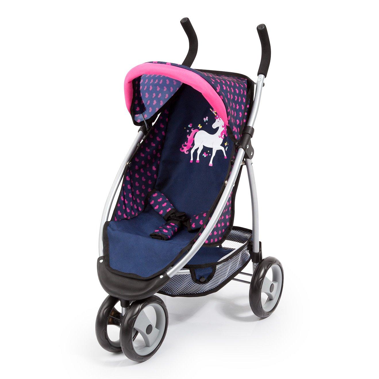 Bayer Design 39954AA Passeggino Jogger per bambole, unicorno, blu rosa
