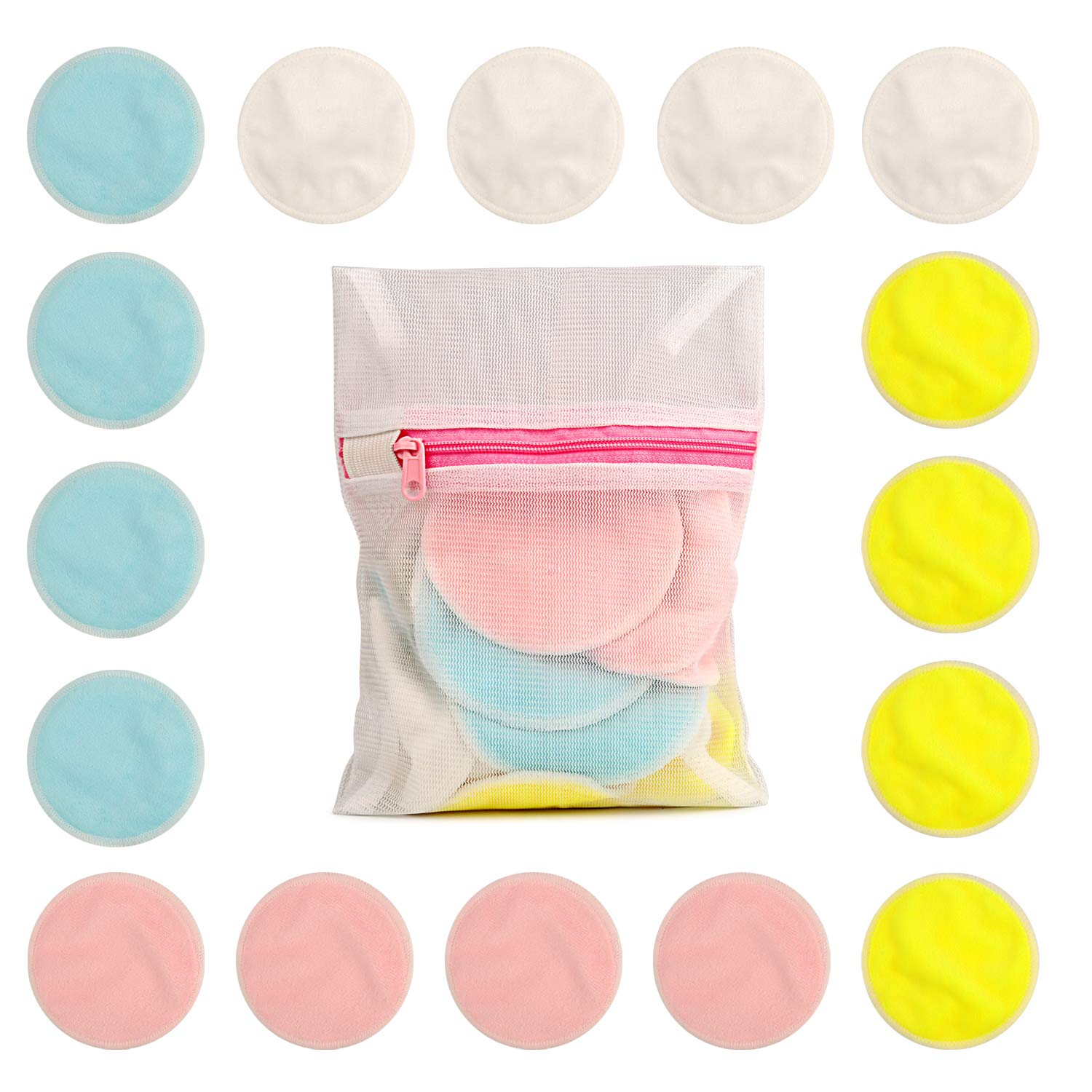 16pcs 3Inch Small Bamboo Cotton Facial rounds makeup Remover Pads Reusable Washable facial wipes cotton pads with Laundry Bag Shenzhen Meiyijia Trading Co. Ltd