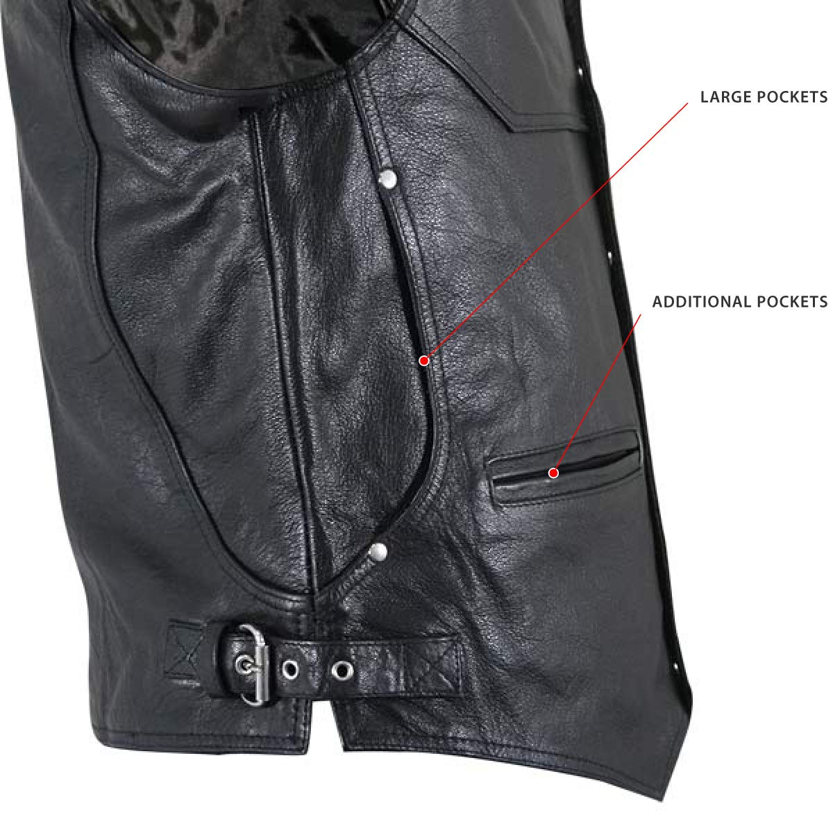 Medium Xelement XS1927 Road King Mens Black Leather Biker Vest