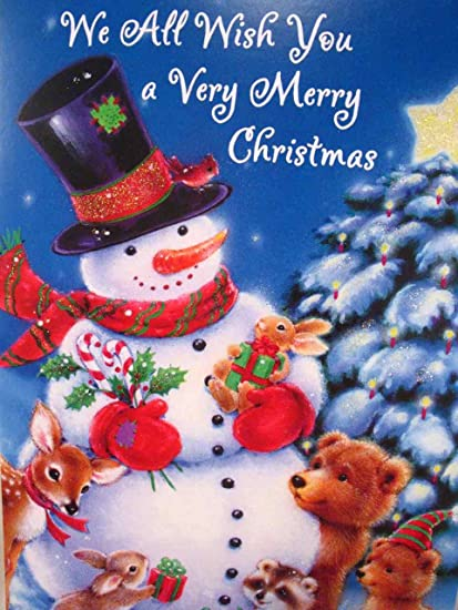Merry Christmas Wishes.Braille Embossed Christmas Greeting Card Snowman With Forest Animals We All Wish You A Merry Christmas