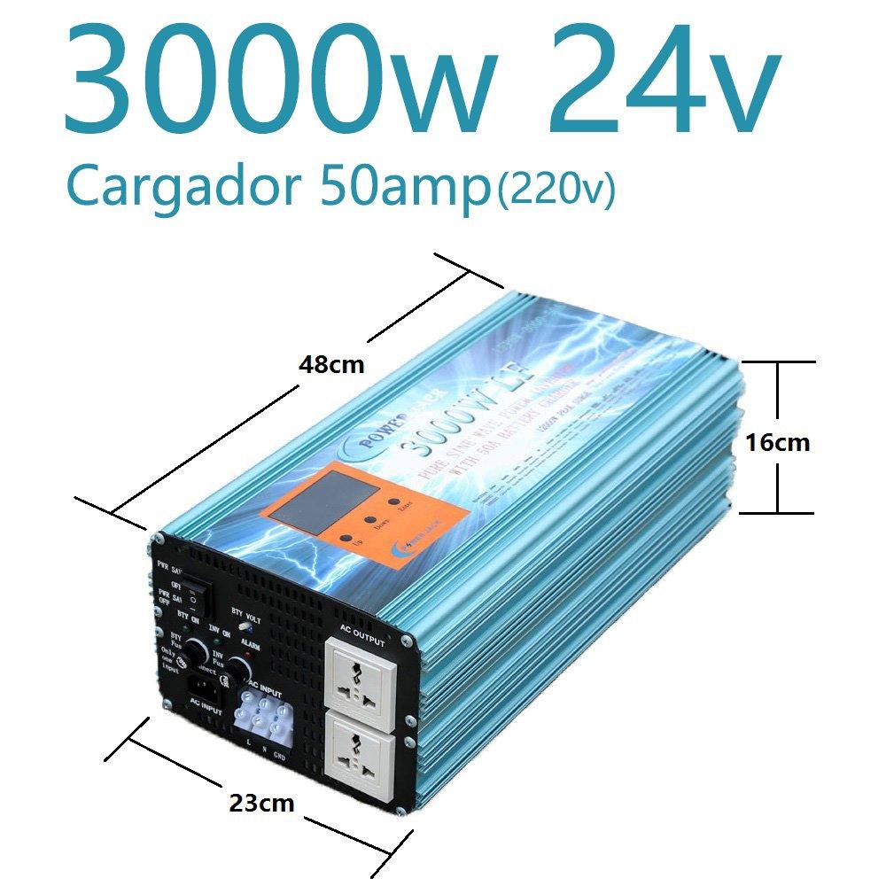 Inversor Onda Pura 3000W Cargador 50Amp 24V to AC 230V Pure ...