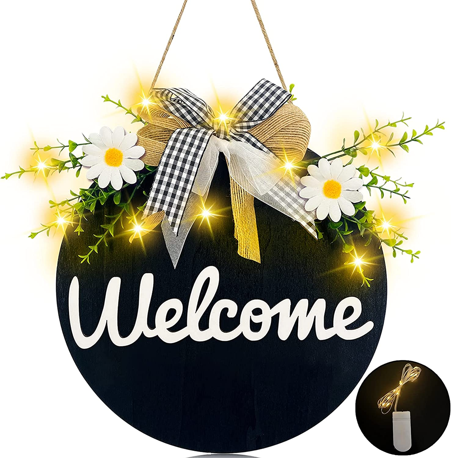 TURNMEON Welcome Sign for Front Door Decor with 10 Led Lights, Rustic Wood Hanging Hello Sign Daisy Eucalyptus Bow Farmhouse Porch Spring Summer Wreath Housewarming Outdoor Home Decor