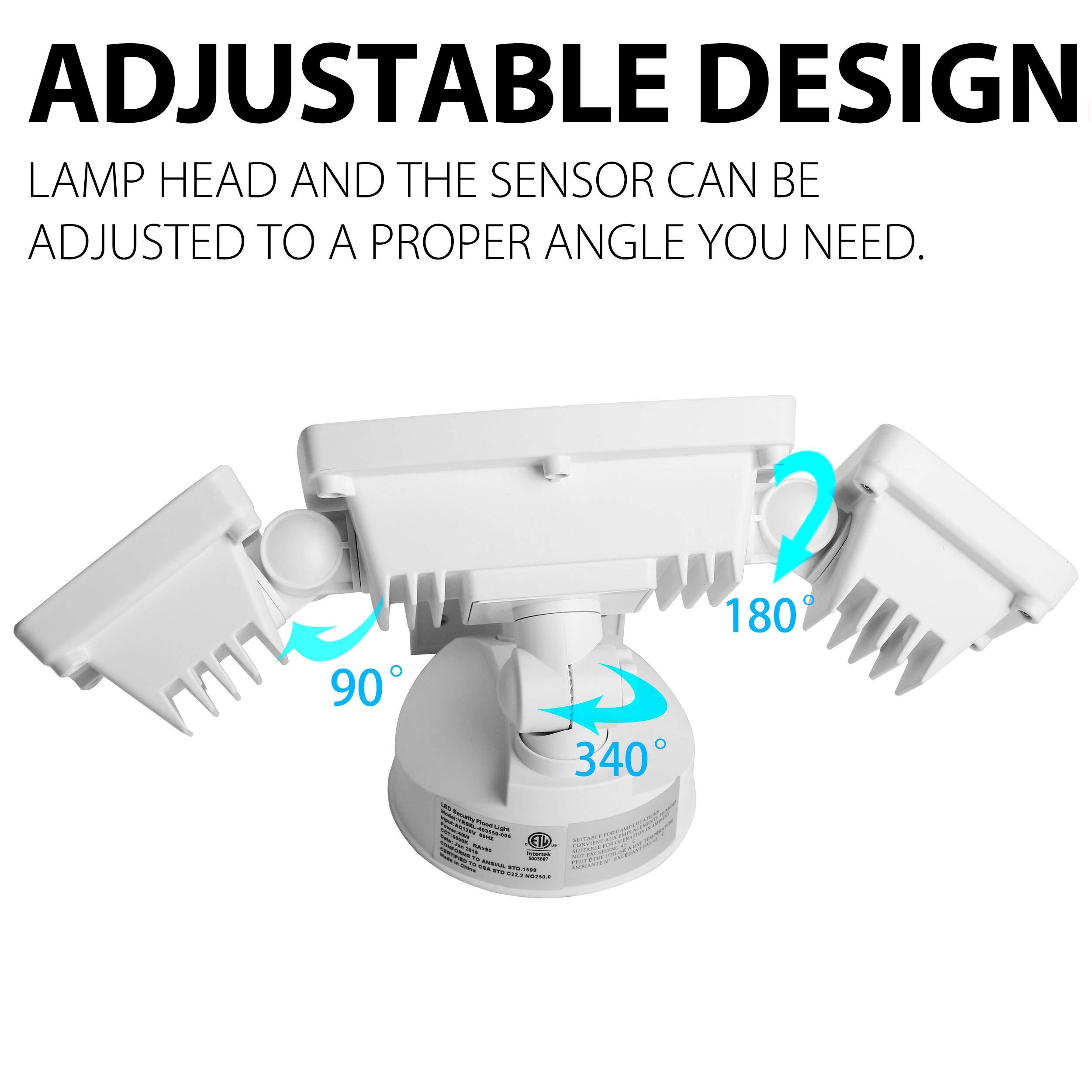 3 Head LED Security Lights Motion Outdoor Motion Sensor Light Outdoor 40W  3500 Lumens 5000k Waterproof IP65 ETL Motion Sensor Flood Light Exterior