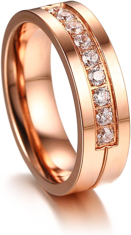 AMDXD Mens Stainless Steel Wedding Ring Round Zirconia Rings