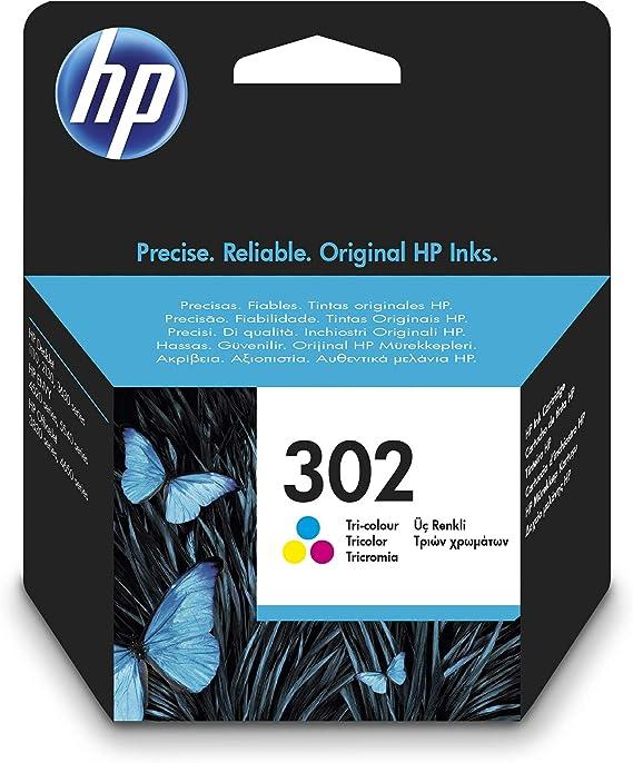 HP 302 F6U65AE, Cartucho de Tinta Original Tricolor, Compatible con impresoras de inyección de tinta HP DeskJet 1110,2130,3630; ENVY 4520; OfficeJet ...