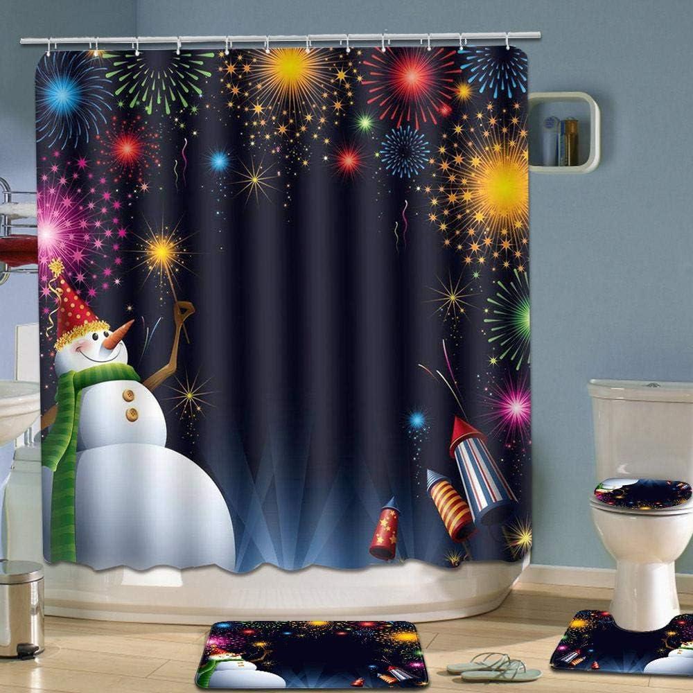 Funny Santa Claus Christmas Tree Elk Snowman Carpet Bathroom Decor Merry Christmas Shower Curtain Sets Hamkaw 4 Pcs Xmas Shower Curtain//Non-Slip Bathroom Rugs//Lid Toilet Cover//Bath Mat