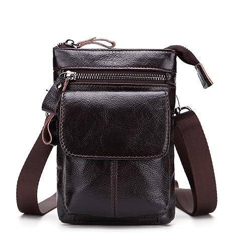 Gendi Genuina bolso de cuero de la cintura para los hombres Vintage Muslo Bolsas De Mano