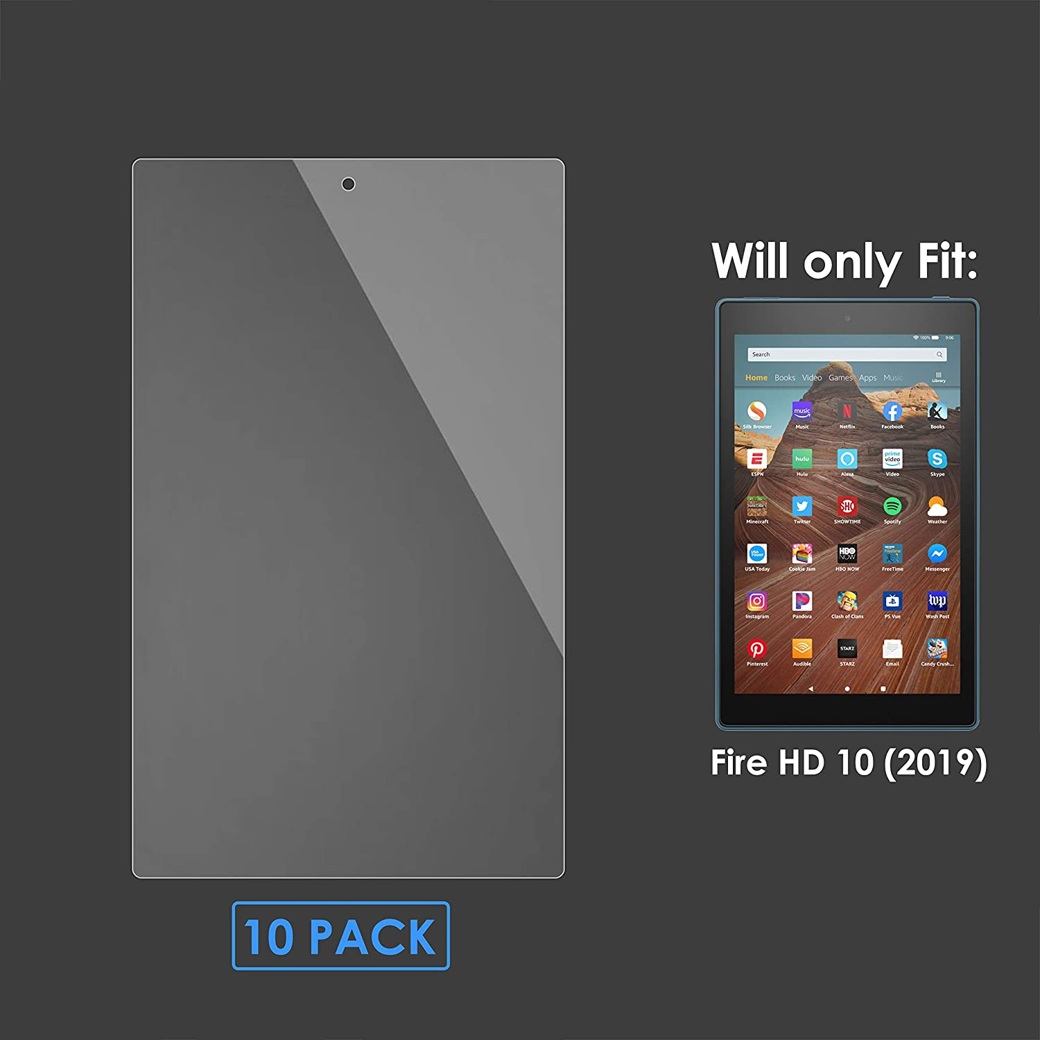 Edge to Edge Screen Coverage Shatterproof Fire HD 10 Screen Protector Forefront Cases Screen Protector for Fire HD 10 2019-5 Pack HD Clear Ultra Thin 0.1mm PET