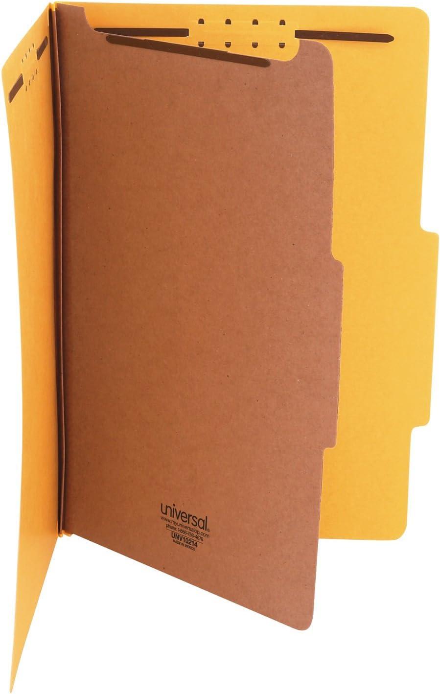Legal Universal 10214 Pressboard Classification Folders Yellow 10//Box Four-Section