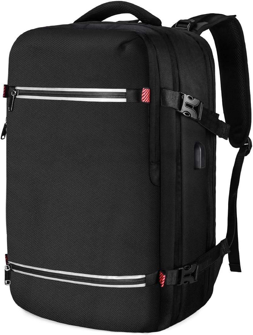 NUBILY Sac à Dos 17,3 Pouces Ordinateur Portable Imperméable USB d'affaires Grande Ecole Vovage 17 Pouces Laptop Backpack Homme Noir