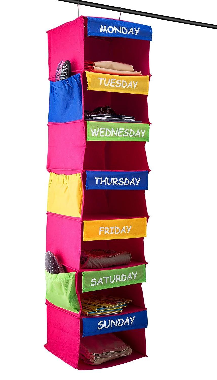 Sagler Daily Activity Organizer Kids 7 Shelf Portable Closet Hanging Closet Organizer Great Closet Solutions SYNCHKG088677