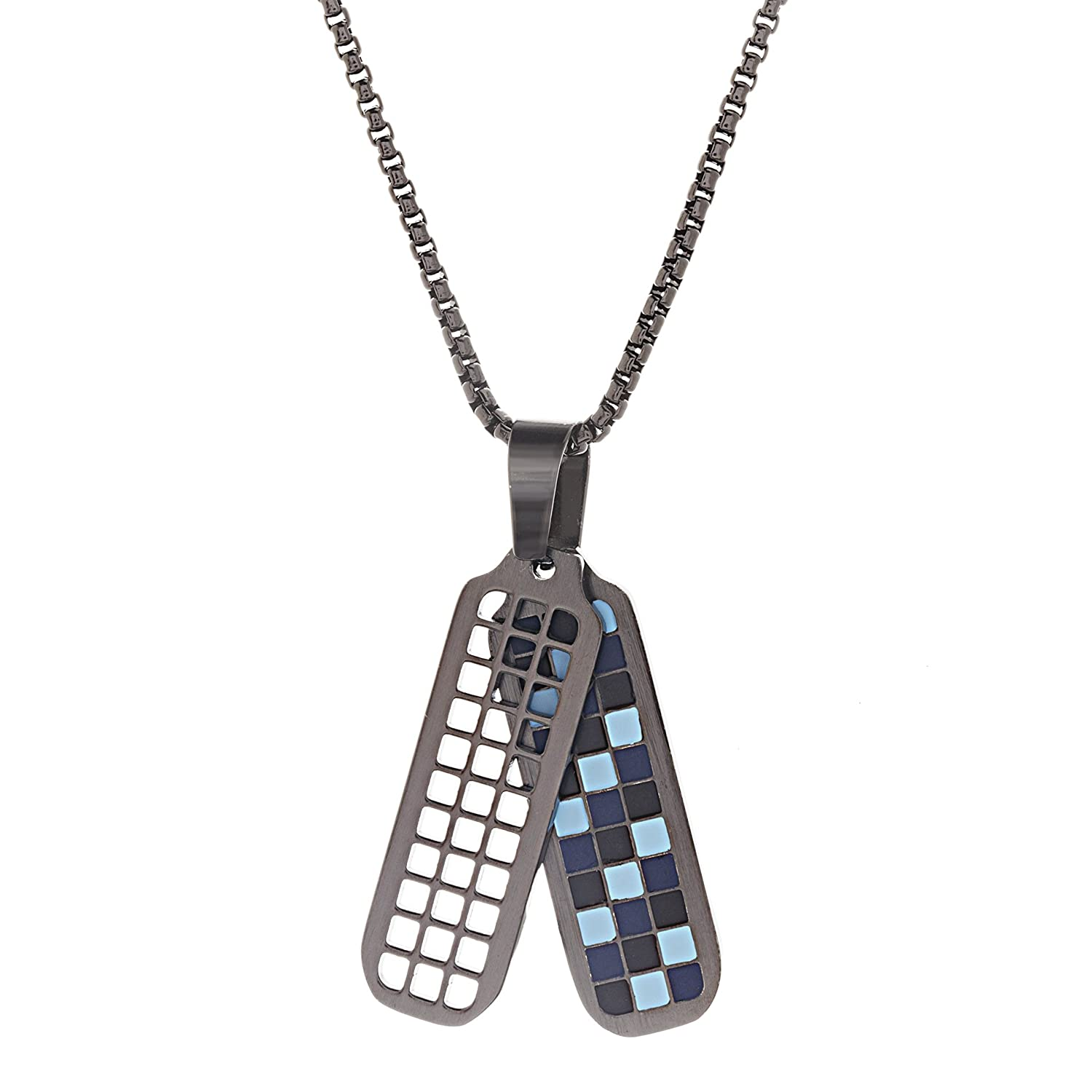 Ben Sherman Men's Black/Light Blue Checkerboard Dog Tag Necklace with Stainless Steel Black IP Roll Chain, 26 BSNS541030B-EM1