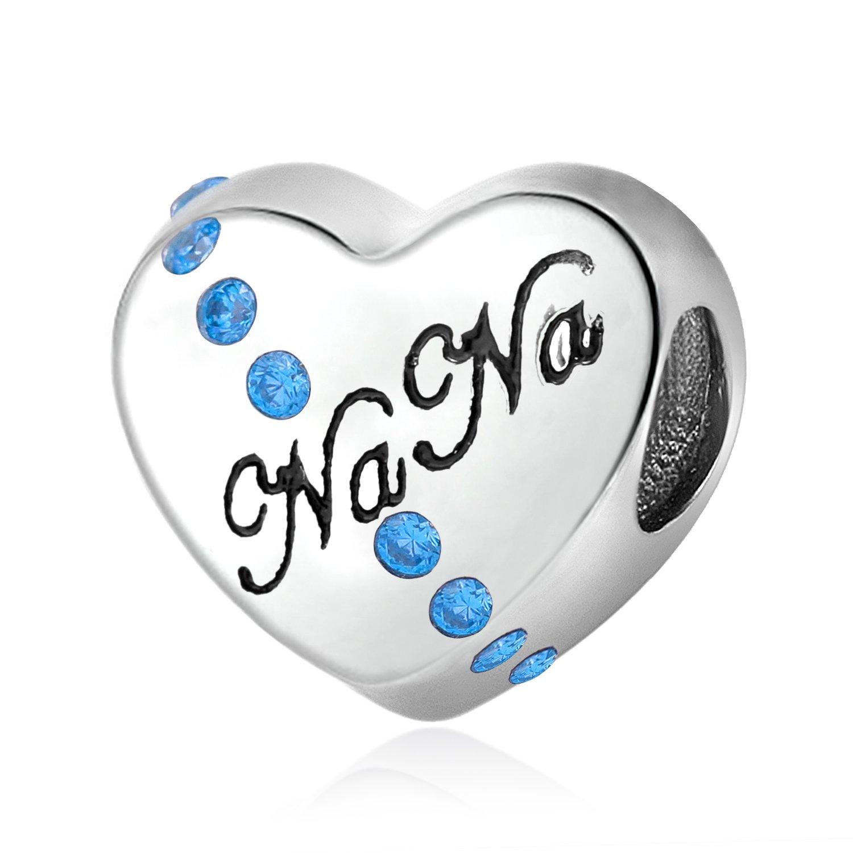 Nana I Love You 925 Sterling Silver Charms Heart Bead Birthstone for Bracelet Jewelry AJ1000_MTA7026