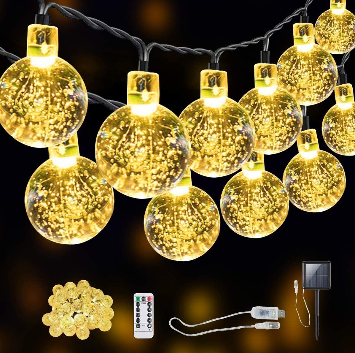 Cadena de luz SITRI/cadena de luz solar/luz solar exterior/luz de cuento de hadas, solar/USB, adecuada para jardines, patios, casas, árboles de Navidad, fiestas, 7.5m 50 luces.