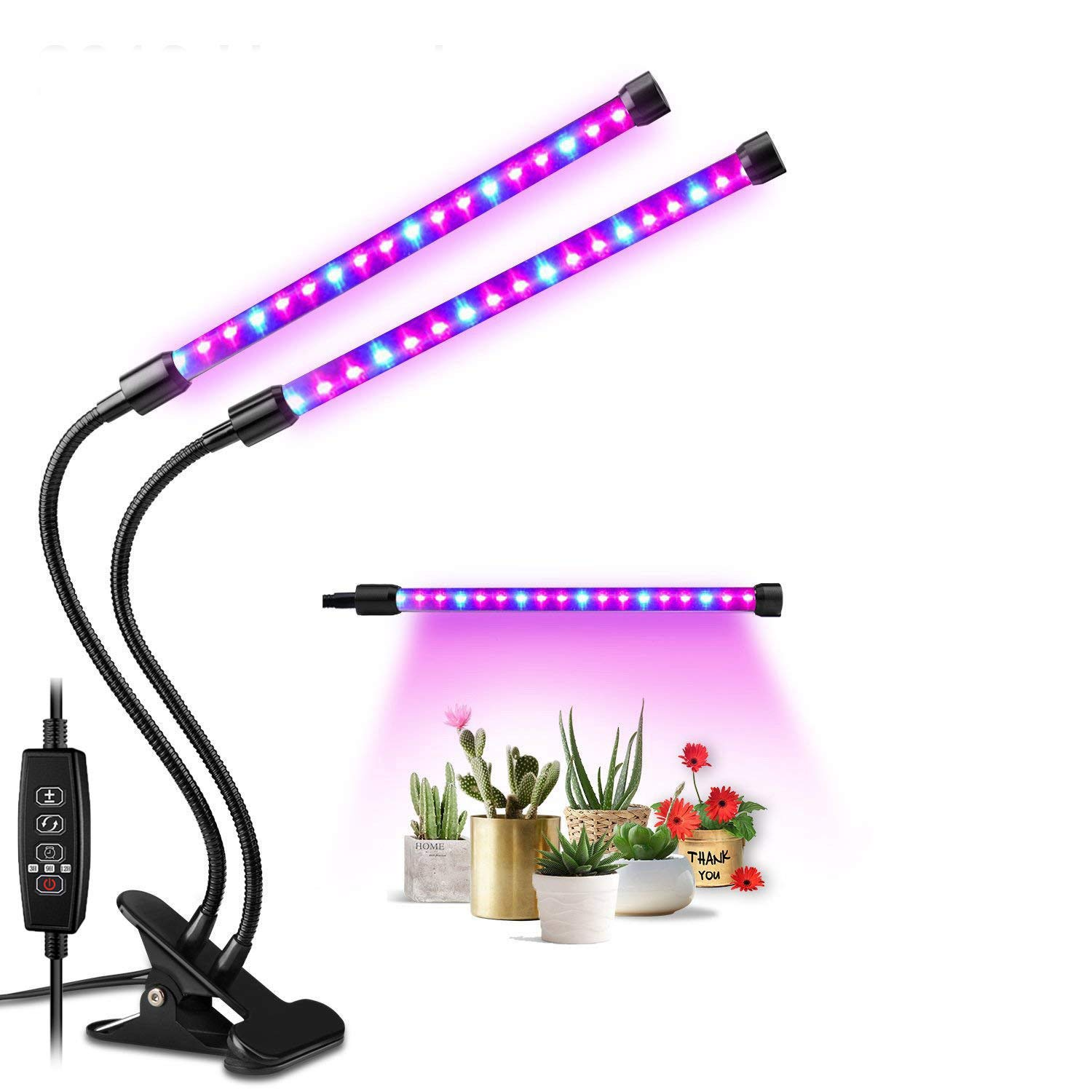 DISTIll Upgraded 18W Dual Head Timing Plant Grow Light 36 LED 5 Dimmable Levels LED Plant Grow Lamp with Red Blue Spectrum, 360 Flexible Adjustable Gooseneck for Indoor Plants Hydroponics Greenhouse