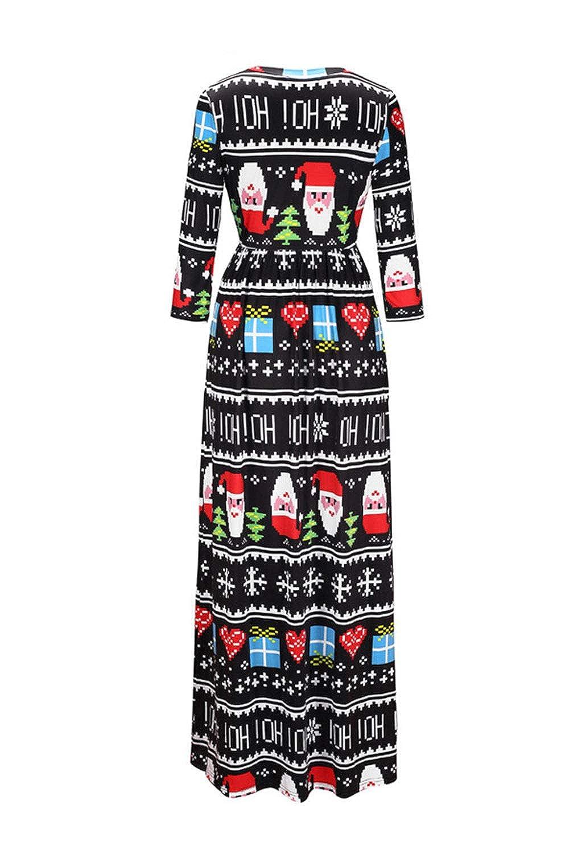 Sevozimda Tie Dye Mujeres Vestidos De Navidad Santa Claus Xmas Tree Swing Maxi Dress: Amazon.es: Ropa y accesorios