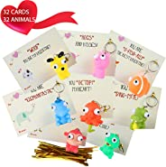 MOMONI Premium 32 Piece Valentines Day Card for Kids With Squeezable Pop-Eye Animal Keychain- Perfect for Valentines Day Gift
