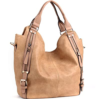 aaa9bff46ee7 Amazon.com  JOYSON Women Handbags Hobo Shoulder Bags Tote PU Leather  Handbags Fashion Large Capacity Bags Apricot  Shoes