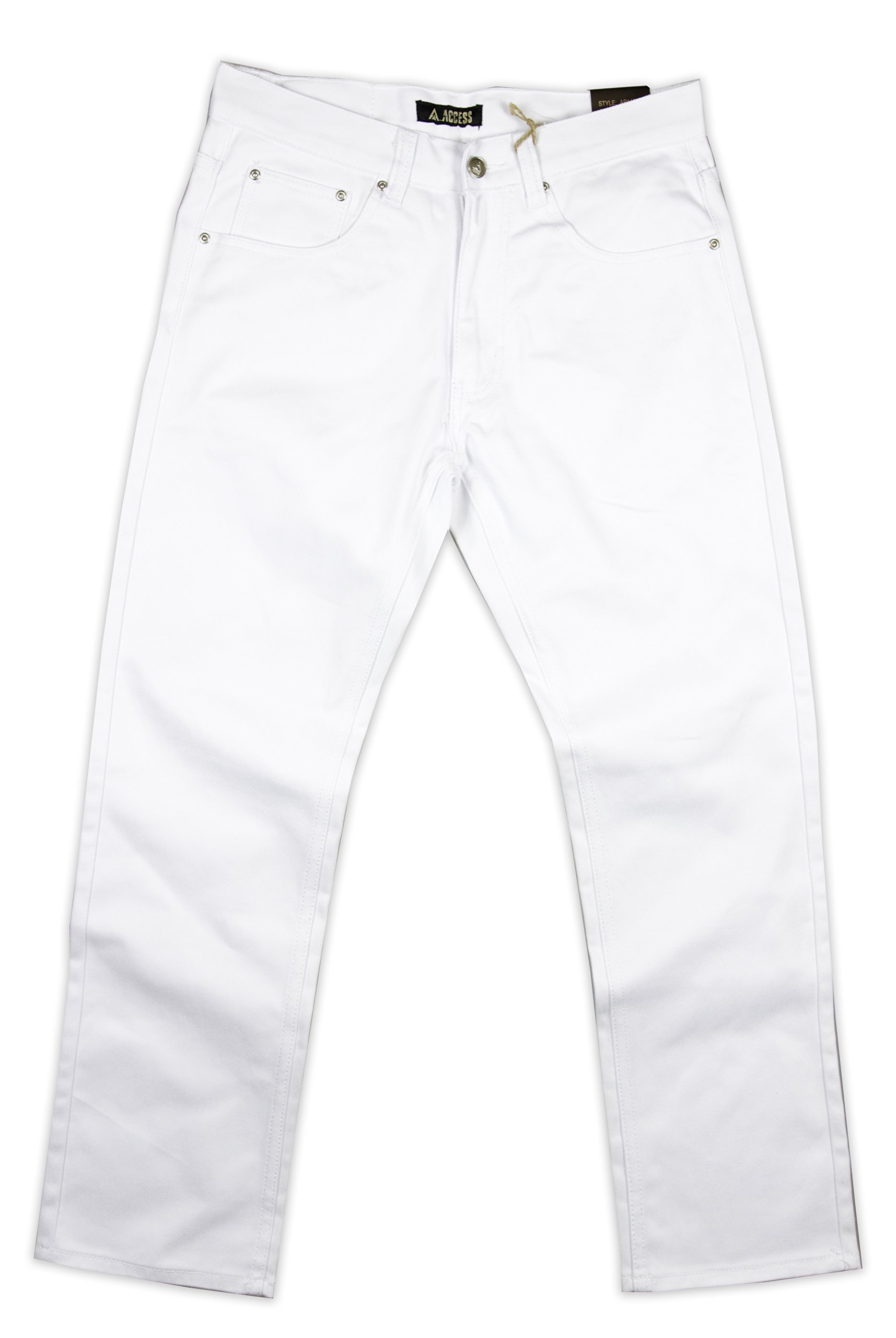 Access Men's Big & Tall Solid Color Twill Jeans (48, White)
